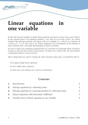Linear equations in one variable - Math Centre