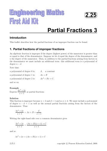 Partial Fractions Integration Problems And Solutions - math