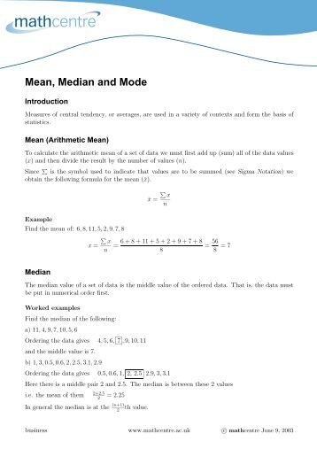 Measures of Central Tendency: Mean, Median, and Mode Worksheet