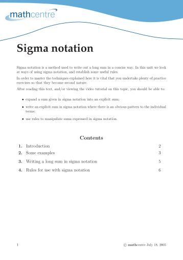 Worksheets Sigma Notation Worksheet worksheet 4 6 sigma notation mathcentre