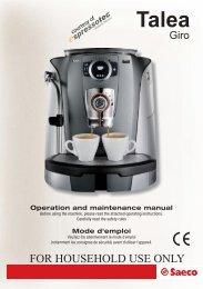 Saeco Talea Giro Manual - Espressotec