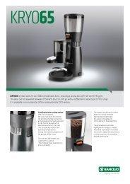Rancilio KRYO 65 Spec Sheet - Espressotec