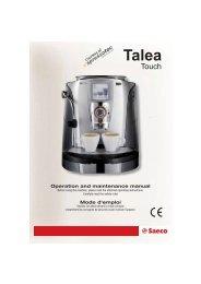Saeco Talea Touch users manual - Maison Rondeau