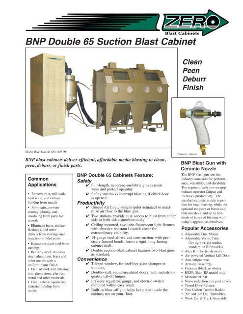 BNP Double 65 Suction Blast Cabinet - Clemco Industries Corp