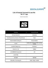 """List of brands licensed to use the """"HD TV"""" logo - DigitalEurope"""