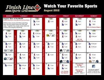 Watch Your Favorite Sports August 2012