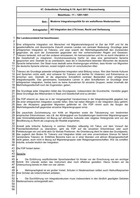 Beschluss 11-1201-1401 AG ... - FDP Niedersachsen
