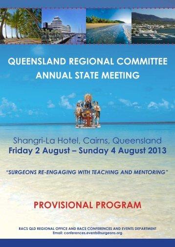 Provisional Program - Royal Australasian College of Surgeons