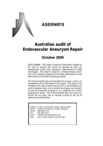 Australian audit of Endovascular Aneurysm Repair - the Medical ...