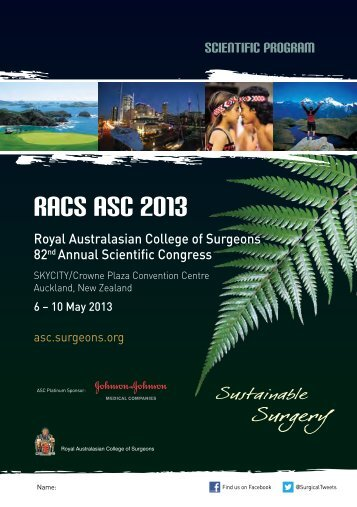 ASC 2013 Scientific Program - Royal Australasian College of ...