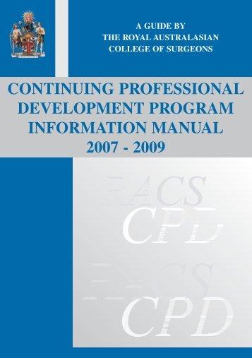 continuing professional development program information manual ...