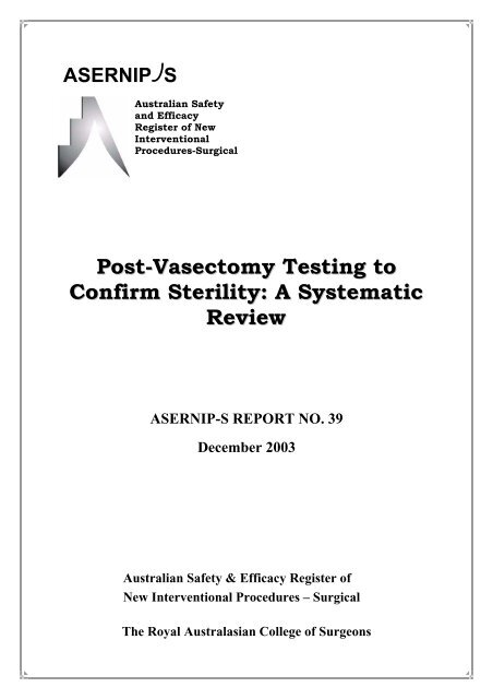Post-Vasectomy Testing to Confirm Sterility: A Systematic Review