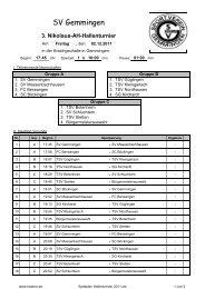 Spielplan Hallenturnier 2011 - TSV Botenheim