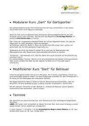 """• Modularer Kurs """"Dart"""" für Dartsportler • Modifizierter Kurs """"Dart"""" für ..."""