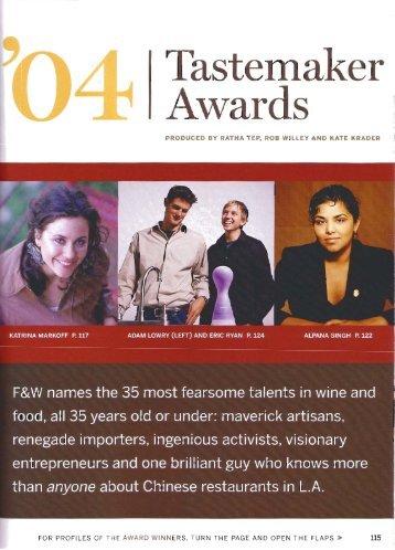 04 Tastemaker Awards (Ryan Magarian, Food & Wine) - Kathy Casey