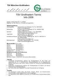 TSV Großhadern Tennis Info 2009