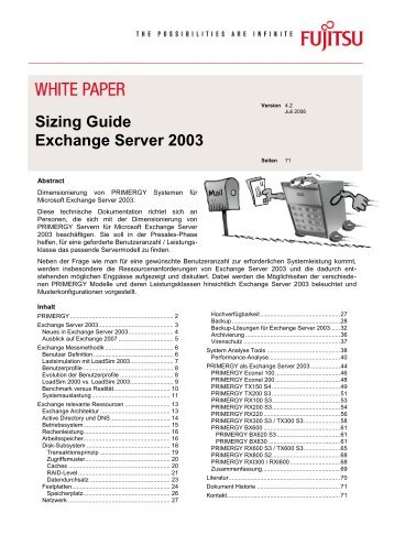 Sizing Guide Exchange Server 2003 - Fujitsu