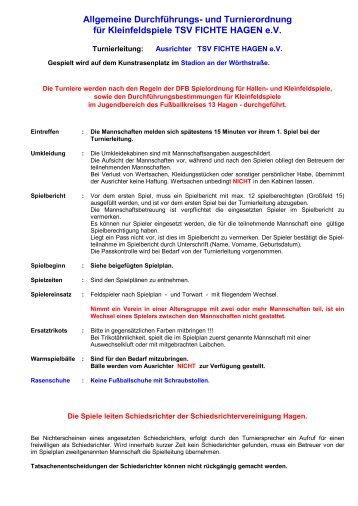 und Turnierordnung für Kleinfeldspiele TSV FICHTE HAGEN eV