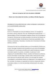 Discurso de apertura del Curso Académico 2008/2009 - Helvia ...