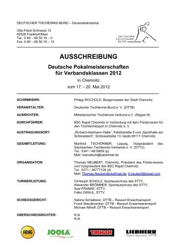 Vorlage Ausschreibung - BSC Rapid Chemnitz – Tischtennis