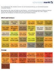 Übersicht RAL Farben für ... - Schornsteinmarkt