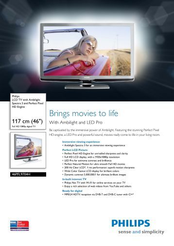 46PFL9704H/12 Philips LCD TV with Ambilight Spectra 3 and ...