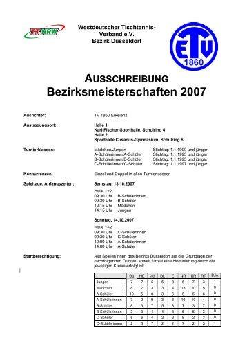 Ausschreibung Bezirksmeisterschaften 2007