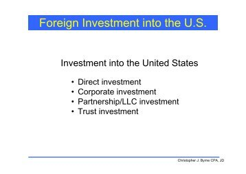 Foreign Investment into the U.S. - TTN Transnational Taxation Net