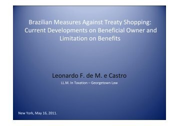 Brazilian Measures Against Treaty Shopping: Current Developments ...