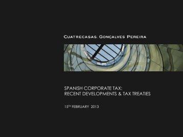 Spanish corporate tax: recent developments & tax treaties