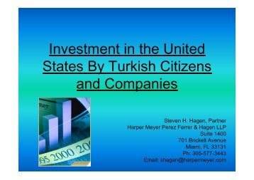 Investment in the United States By Turkish Citizens and Companies