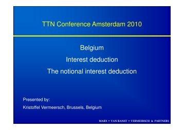 Belgium Interest deduction. The notional interest deduction
