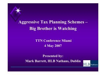 Aggressive Tax Planning Schemes – Big Brother is Watching