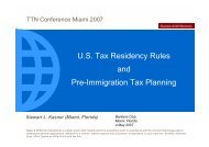U.S. Tax Residency Rules and Pre-Immigration Tax Planning