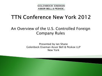 Ian Shane, Golenbock Eiseman LLP, New York, USA