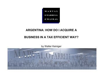 argentina: how do i acquire a business in a tax efficient way?