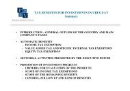 TAX BENEFITS FOR INVESTMENTS IN URUGUAY Summary - TTN ...