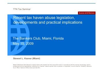 Recent tax haven abuse legislation, developments and practical ...