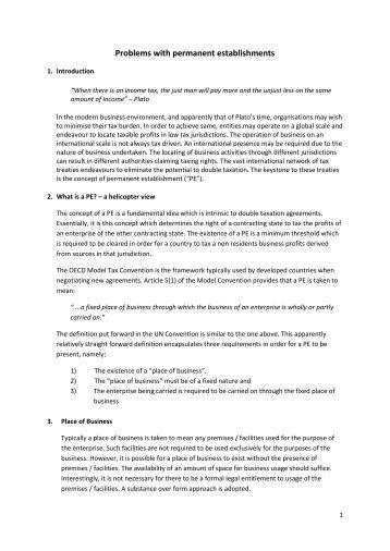 Problems with permanent establishments - TTN Transnational ...