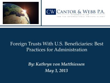 Foreign Trusts With U.S. Beneficiaries: Best Practices for ...