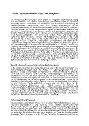 1. Globale Logistik-Netzwerke und Supply Chain ... - TU Berlin