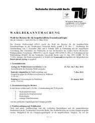 W A H L B E K A N N T M A C H U N G - TU Berlin