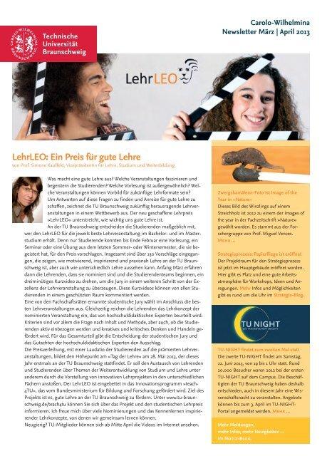 Newsletter 2/2013 (pdf) - Technische Universität Braunschweig