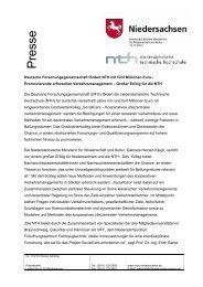 Deutsche Forschungsgemeinschaft fördert NTH mit fünf Millionen Euro