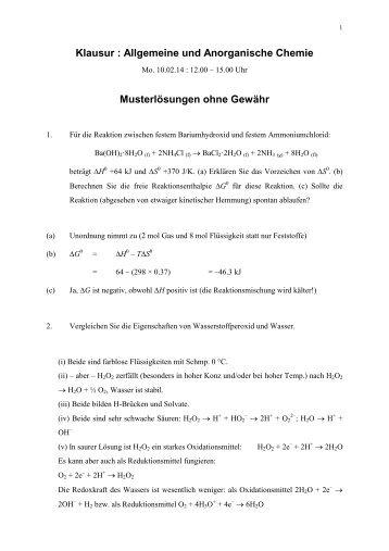 Musterlösungen Klausur Allgemeine Chemie 10.2.14 (pdf, 66 KByte)