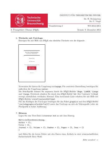 3. Übungsblatt - Technische Universität Braunschweig