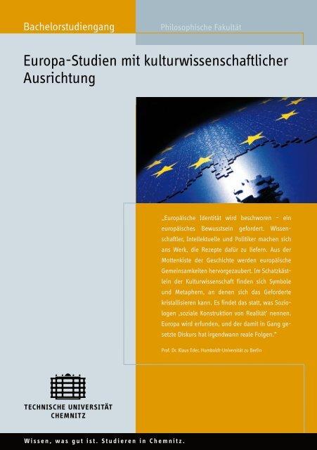 Europa-Studien mit kulturwissenschaftlicher Ausrichtung