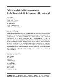 Elektromobilität in Metropolregionen: Die Feldstudie MINI E Berlin ...