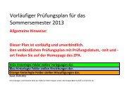Vorläufiger Prüfungsplan für das Sommersemester 2013