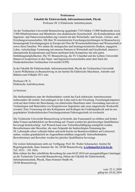 Professuren Fakultät für Elektrotechnik, Informationstechnik ... - TU9